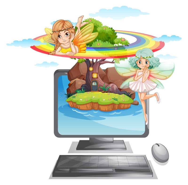 Écran d'ordinateur avec des fées sur l'île illustration libre de droits