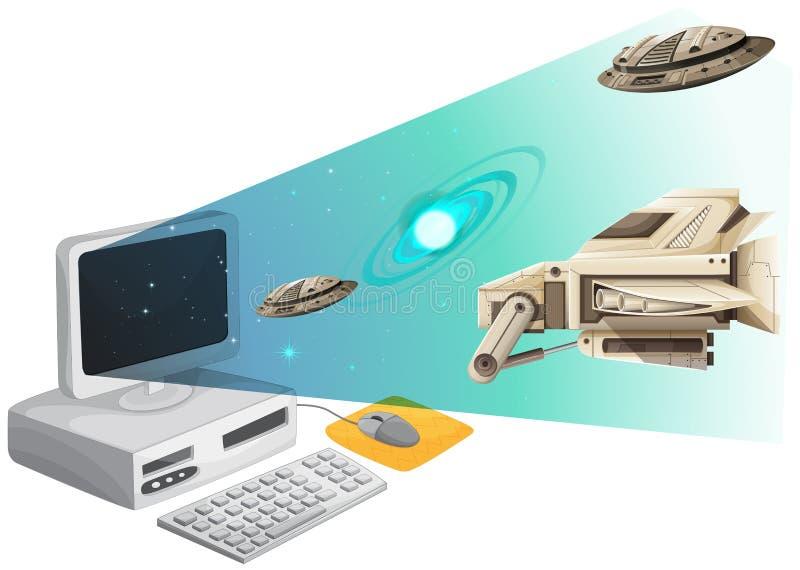 Écran d'ordinateur avec des vaisseaux spatiaux dans l'espace illustration stock