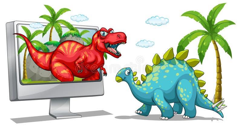 Écran d'ordinateur avec deux dinosaures illustration de vecteur