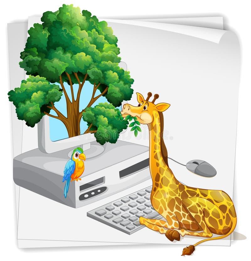 Écran d'ordinateur avec la girafe mangeant des feuilles illustration libre de droits