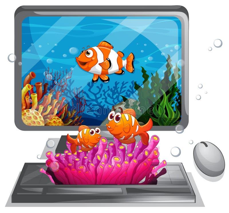 Écran d'ordinateur avec la natation illustration libre de droits