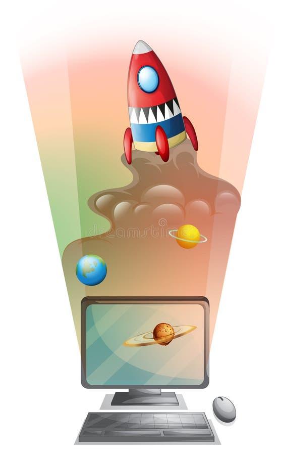 Écran d'ordinateur avec le bateau de fusée dans l'espace illustration de vecteur