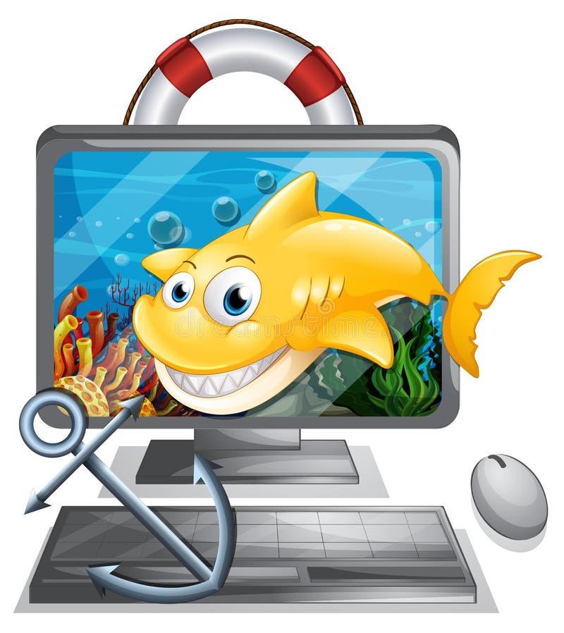 Écran d'ordinateur avec le requin jaune illustration libre de droits
