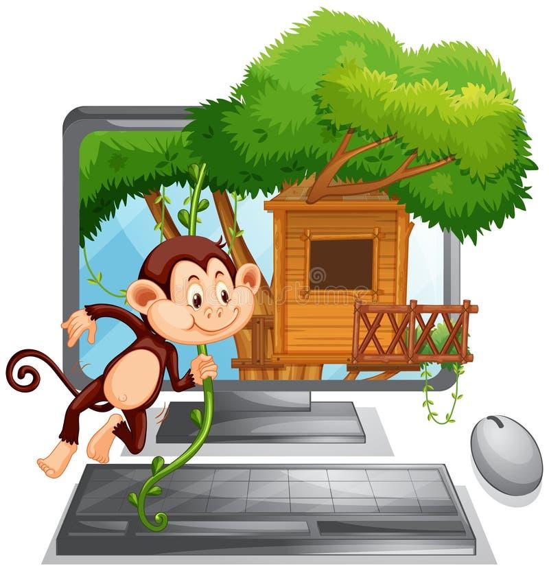 Écran d'ordinateur avec le singe jouant à la cabane dans un arbre illustration stock
