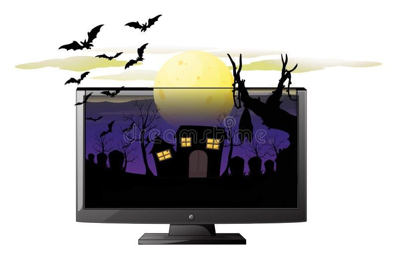 Écran d'ordinateur avec le thème de Halloween illustration de vecteur