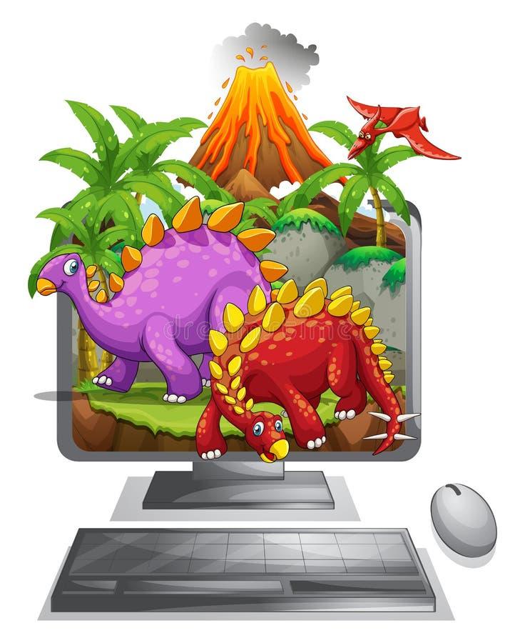 Écran d'ordinateur avec les dinosaures et le volcan illustration de vecteur
