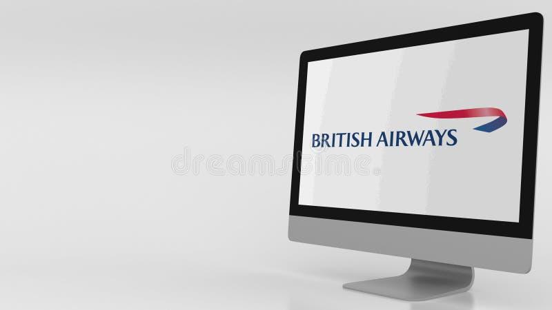Écran d'ordinateur moderne avec le logo de BA de British Airways Rendu 3D éditorial illustration de vecteur