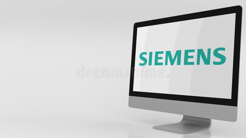 Écran d'ordinateur moderne avec le logo de Siemens Rendu 3D éditorial illustration libre de droits