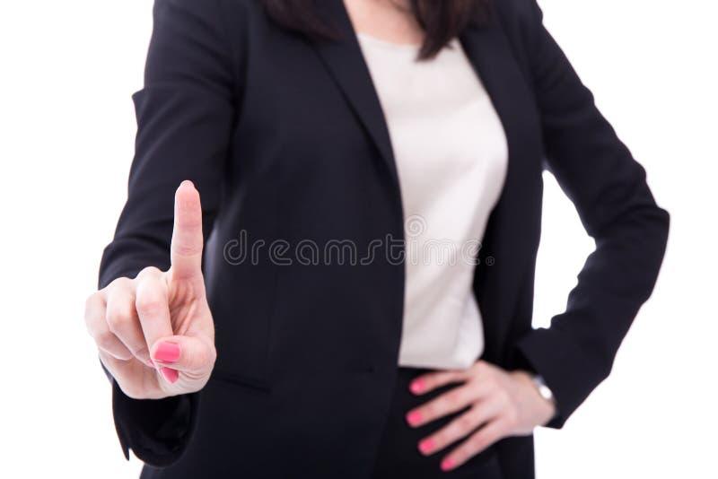 Écran de femme d'affaires ou bouton imaginaire émouvant de pressing avec photographie stock