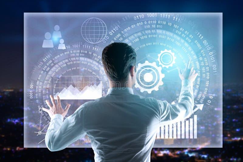 Écran de gestion d'affaires d'homme d'affaires image stock