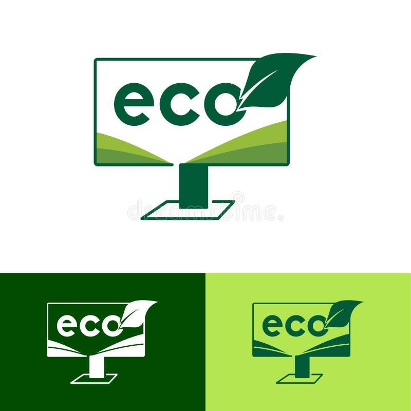 Écran de moniteur de vert d'Eco Logo Design Template - vecteur illustration stock