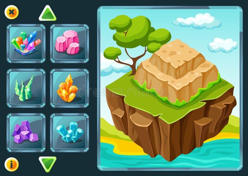 Écran de niveau de sélection de jeu d'ordinateur illustration de vecteur
