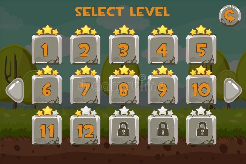 Écran de niveau en pierre de sélection Ui de jeu réglé sur le fond drôle illustration stock