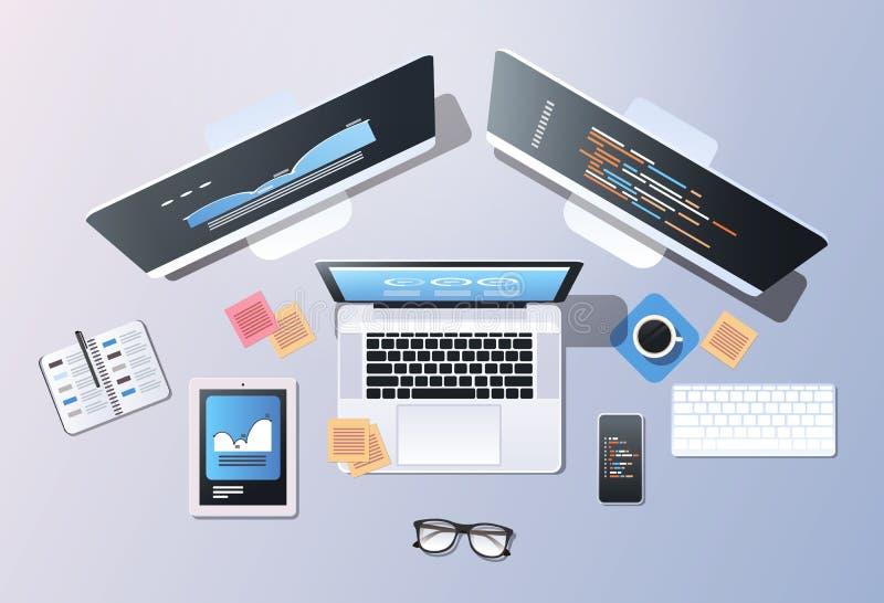Écran de programmation d'ordinateur portable de smartphone de comprimé de moniteur d'ordinateur de bureau de vue d'angle supérieu illustration stock