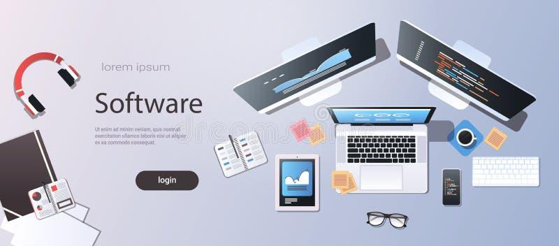 Écran de programmation d'ordinateur portable de smartphone de comprimé de moniteur d'ordinateur de bureau de vue d'angle supérieu illustration de vecteur