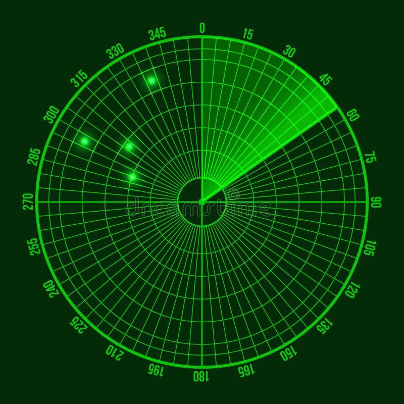Écran de radar vert Vecteur illustration stock