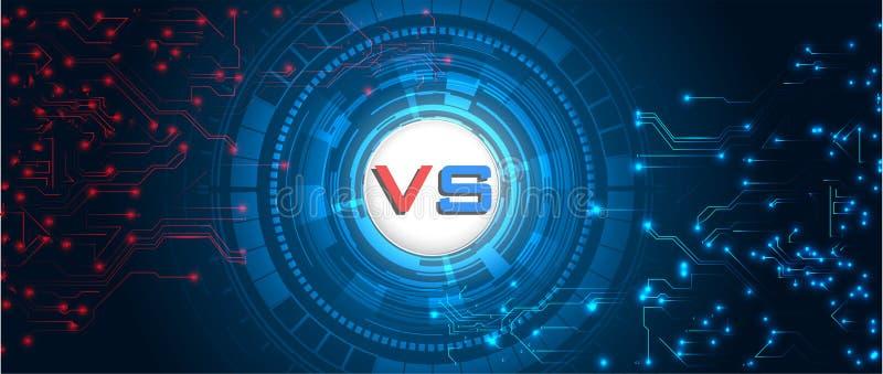 Écran de RGBVersus Milieux de combat les uns contre les autres, rouge contre le bleu Fond numérique et technologique abstrait illustration libre de droits