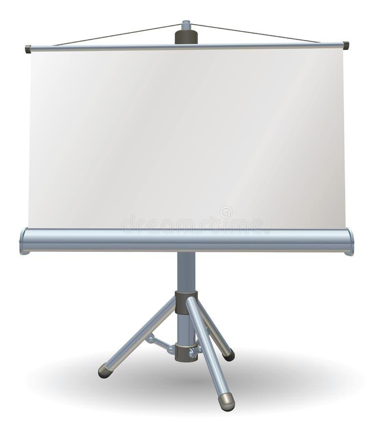 Écran de rouleau de présentation blanc ou de projecteur illustration libre de droits