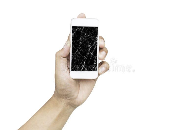 Écran de téléphone portable de participation de main cassé photographie stock libre de droits