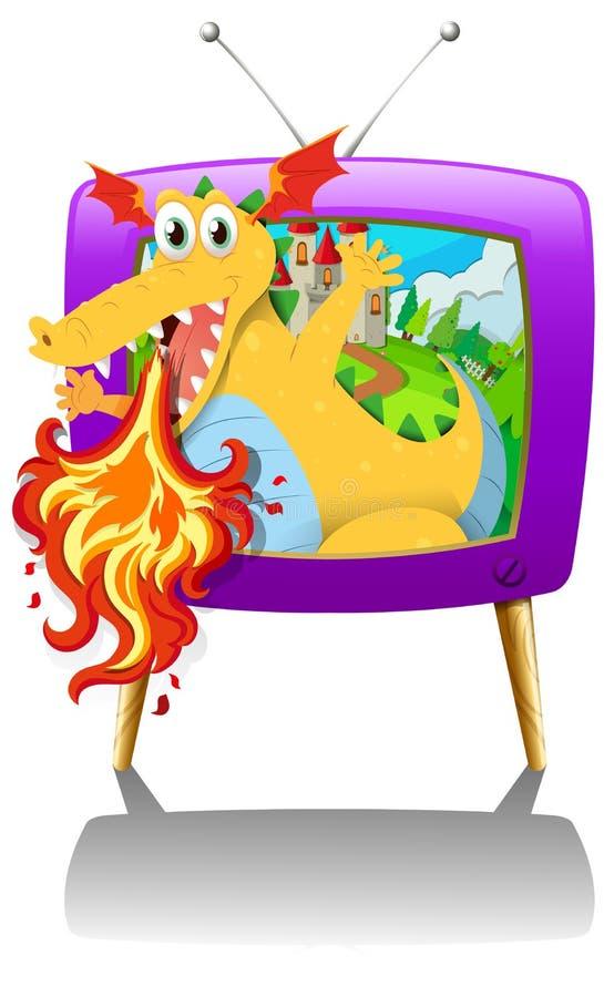 Écran de télévision avec le feu de soufflement de dragon illustration libre de droits