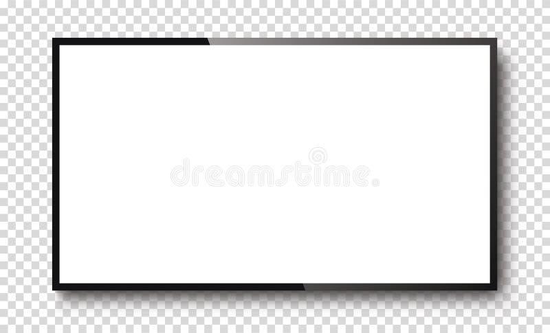 Écran de télévision réaliste sur une terrasse isolée Écran blanc 3d - vecteur stock photographie stock