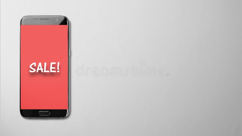 Écran de vente sur le fond rouge dans le smartphone sur gris d'isolement photos stock