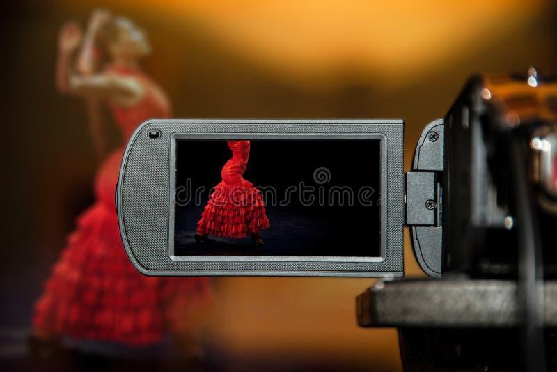 Écran de visualisation d'affichage à cristaux liquides sur une haute caméra de télévision de définition, danse de flamenco photographie stock libre de droits