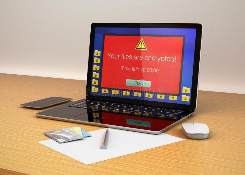 Écran derrière alerte d'ordinateur portable prouvant que l'ordinateur a été attaqué par le ransomware illustration stock