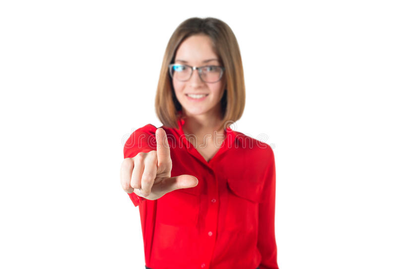 Écran imaginaire émouvant de femme avec son doigt - images stock