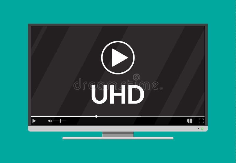 Écran plat moderne TV avec la définition ultra élevée illustration stock