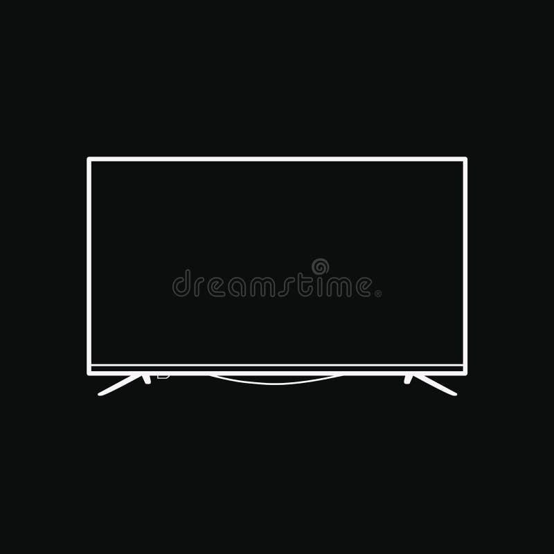 Écran plat TV avec de 4k l'illustration visuelle de vecteur de technologie ultra HD, affichage mené de télévision avec le sym num illustration libre de droits