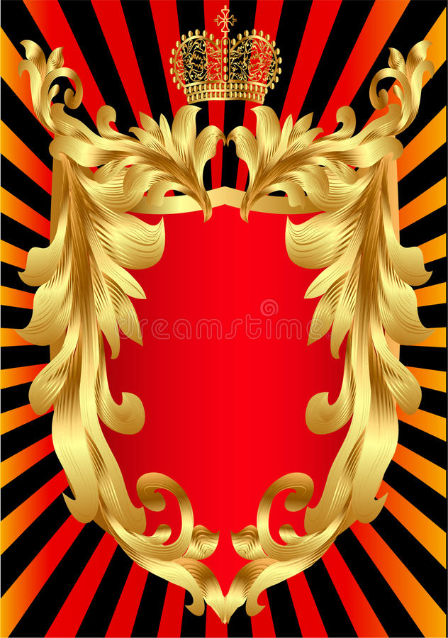 Écran protecteur avec la configuration de corona et d'or illustration libre de droits
