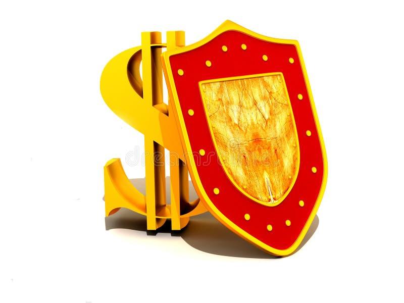 Écran protecteur avec le dollar illustration stock