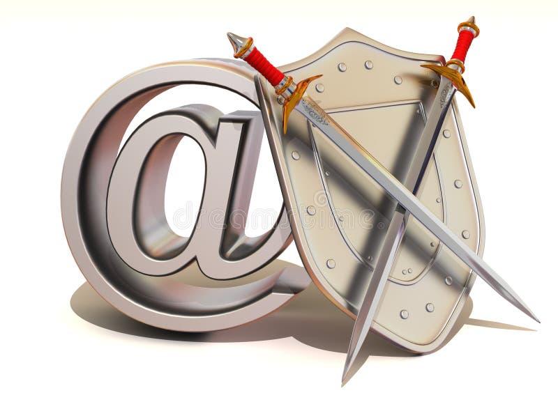 Écran protecteur avec le symbole pour l'Internet illustration stock