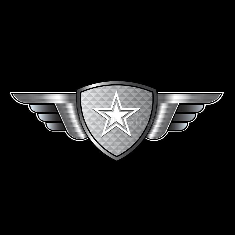 Écran protecteur avec les ailes et l'étoile illustration libre de droits