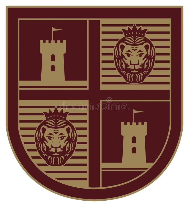Écran protecteur avec un lion illustration de vecteur