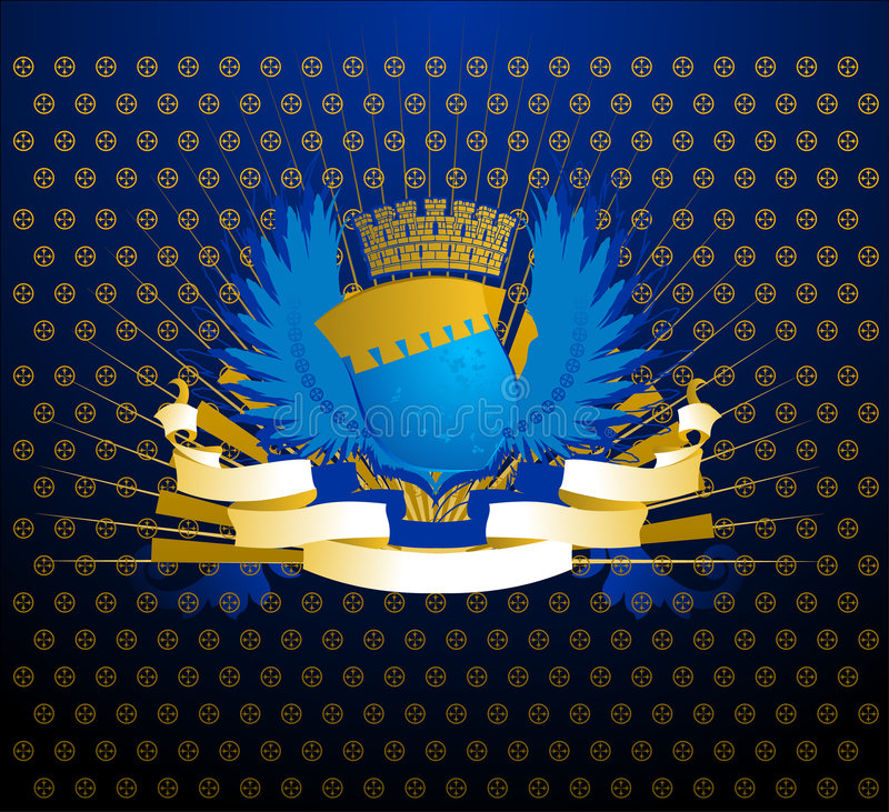 Écran protecteur bleu d'or illustration stock