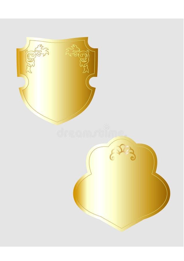 Écran protecteur d'or héraldique,   illustration libre de droits