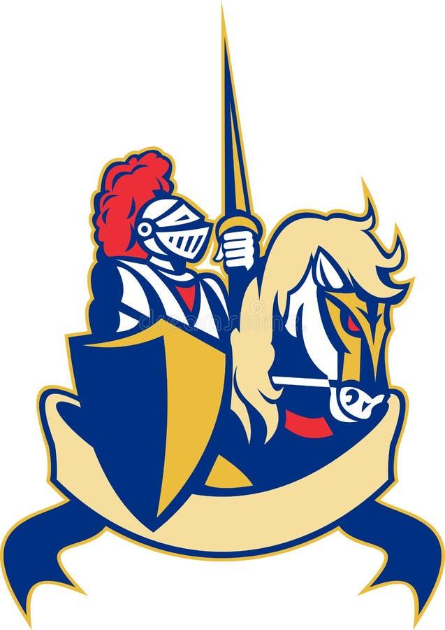 Écran protecteur de lance de cheval de chevalier illustration de vecteur