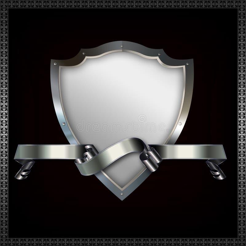 Écran protecteur et bande héraldiques illustration de vecteur