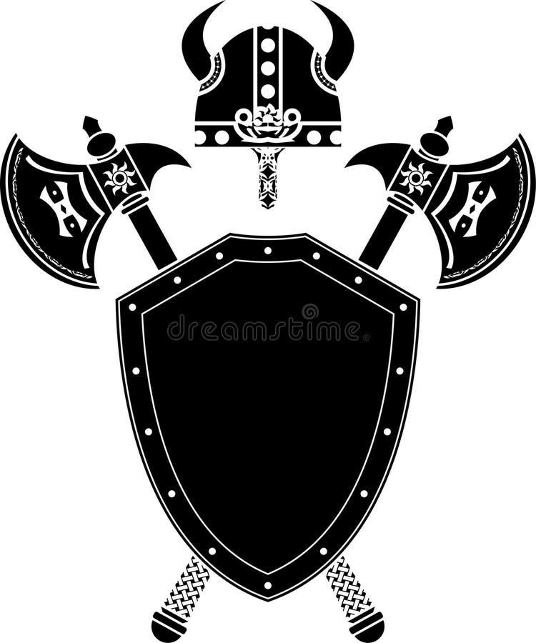 Écran protecteur, haches et casque de Viking illustration de vecteur