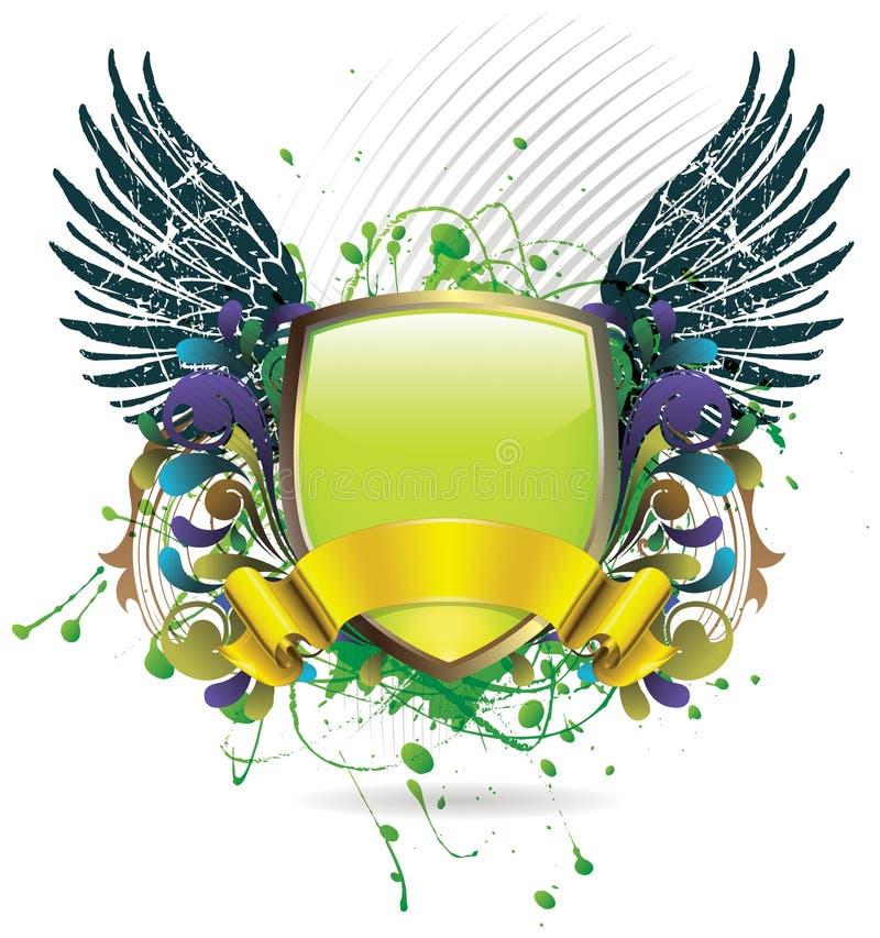 Écran protecteur lustré vert avec la grunge illustration de vecteur
