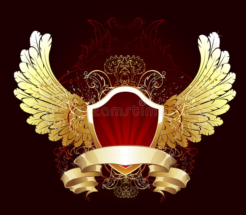 Écran protecteur rouge avec les ailes d'or illustration de vecteur