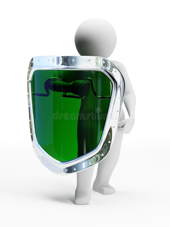 écran protecteur vert abstrait de garantie de la personne 3d illustration de vecteur