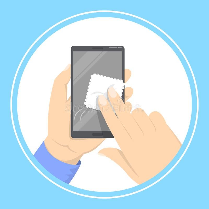 Écran se tenant et de nettoyage de main de téléphone portable illustration de vecteur