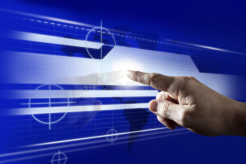 Écran tactile émouvant de Digitals de doigt photo libre de droits