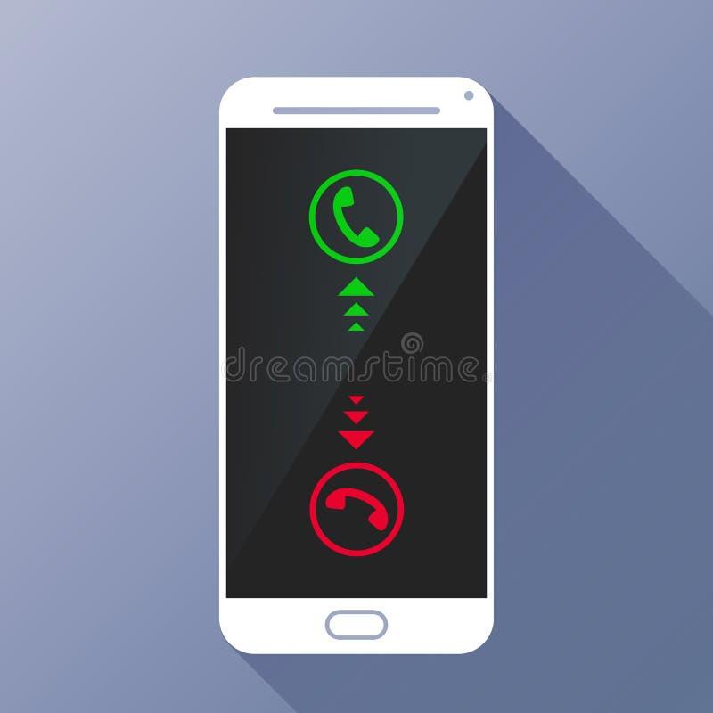 Écran tactile blanc Smartphone avec l'appel d'arrivée illustration libre de droits
