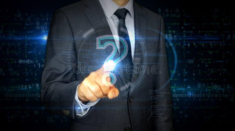 Écran tactile d'homme d'affaires avec l'hologramme de symbole de point d'interrogation illustration stock