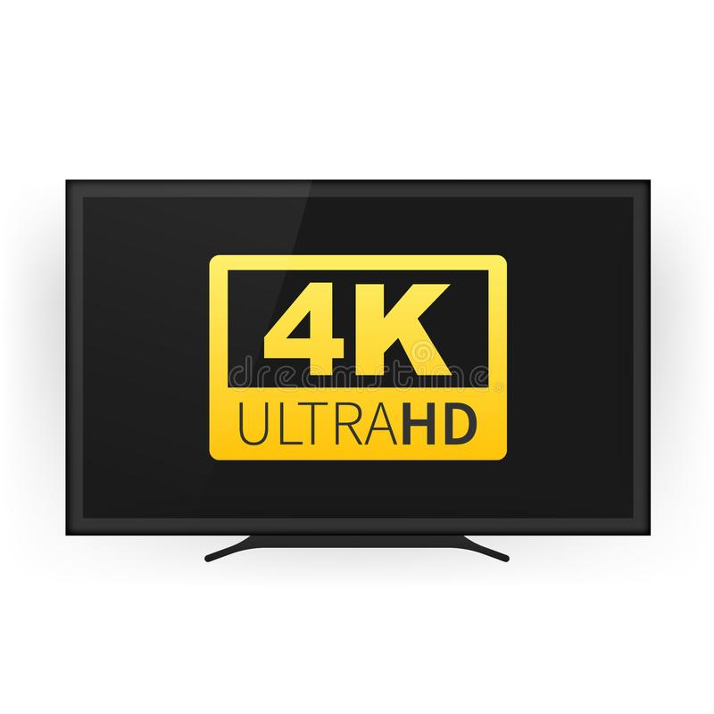 Écran TV avec de 4k la technologie de vidéo ultra HD résolution Smart TV de l'écran 4K Ultra moniteur de HD Illustration de vecte illustration libre de droits
