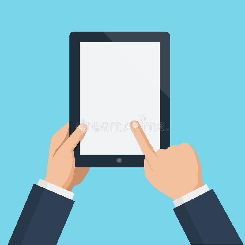 Écran vide émouvant de doigt de tablette verticale illustration libre de droits